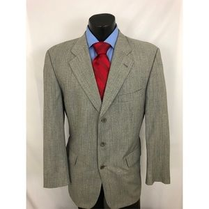 Hugo Boss Sport Coat Gray Chevron Wool 40R